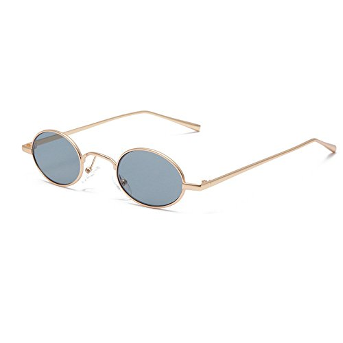 MINCL/Faashions Vintage Small Oval Sunglasses Unisex Chic Sexy Luxury Brand Designer Eyewear UV400 (gold black) (Sunglasses Oval Women For)