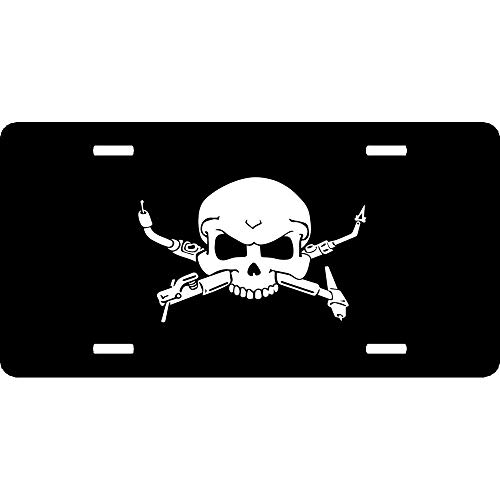 Interesting Welders Skull Stylish Custom License Plates Cover Humor Funny, 4 Holes Aluminum Metal Auto Car Front Tag for US Canada Vehicles 12 x 6 Inch