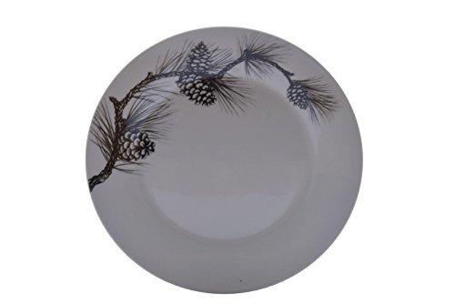 Cabela's Dishware White Black Pine Cone 8