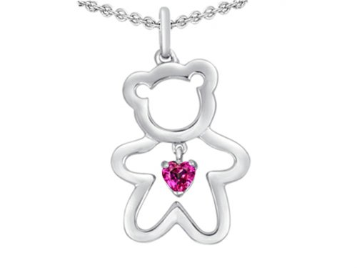 Star K Love Teddy Bear with 4mm Heart Shape Created Pink Sapphire Pendant Necklace Sterling Silver