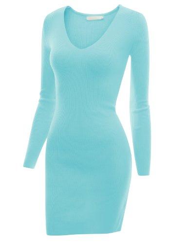 Doublju Women Long Sleeve Pocket Point Sexy Sky Dress,M
