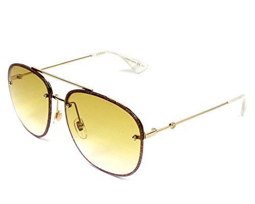 Gucci sunglasses (GG-0227-S 005) Glitter Rosa - Gold - Yellow Gradient (Pink Gucci Sunglasses)