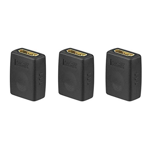 VCE (3 PACK HDMI Female to Female Coupler Gold Plated High Speed HDMI Female Adaptor