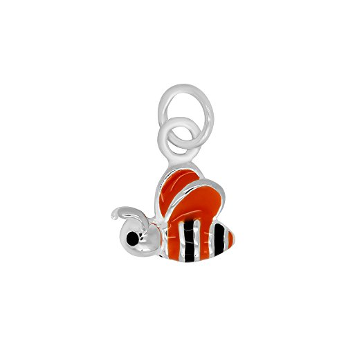 Enameled Bee Charm - Enameled Orange Bee Charm (10 x 12 mm)
