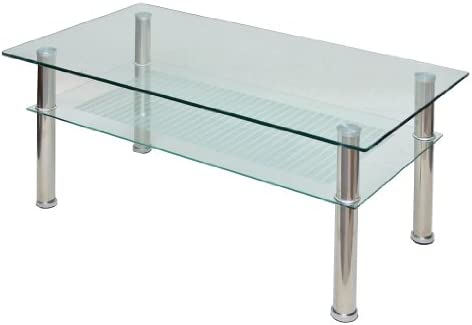 ts-ideen - Mesa auxiliar (cristal y acero inoxidable, 110 x 60 cm ...