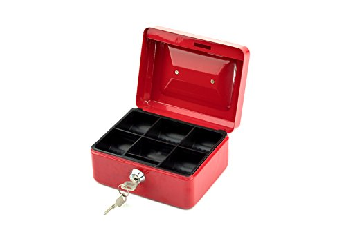 Deluxe Cash Tray - Mini Cash Box, Deluxe Portable Steel Locking Safe Box with Removable Money Tray