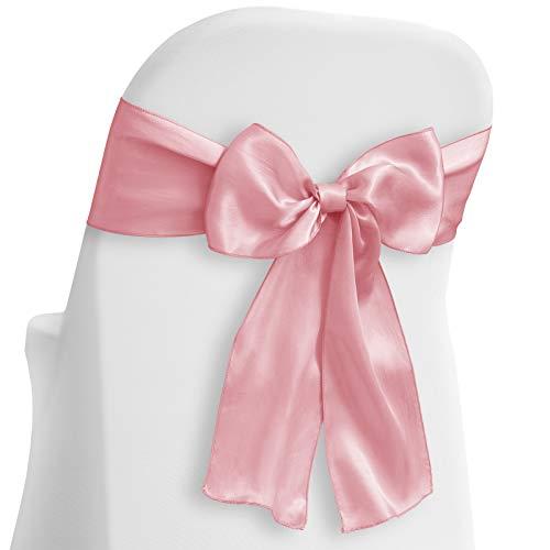 Lann's Linens - 100 Elegant Satin Wedding/Party Chair Cover Sashes/Bows - Ribbon Tie Back Sash - Pink