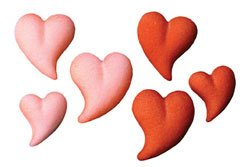 Valentine Red & Pink Teardrop Hearts Edible Sugar Decors/Cupcakes/Cakes 24 count