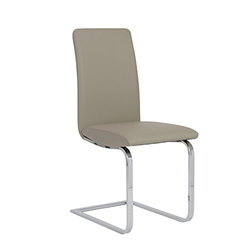Euro Style Cinzia Leatherette Side Chair with Chromed Sled Base, Set of 2, Taupe - Euro Style Contemporary Chair