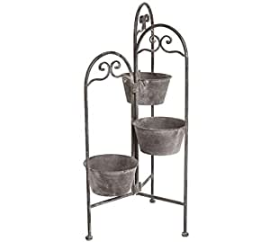 Living Space Metal Planter 3 Layer With 3 Pots Triangular