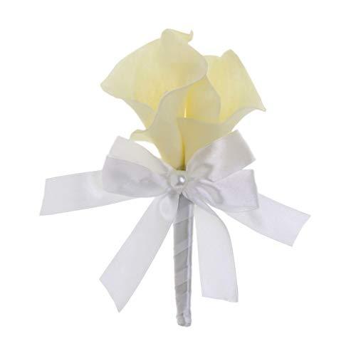 Fashion Wedding Bridal Groom Men Tuxedo Calla Lily Brooch Pin Flower Corsage |Color - White| (Chair Calla)