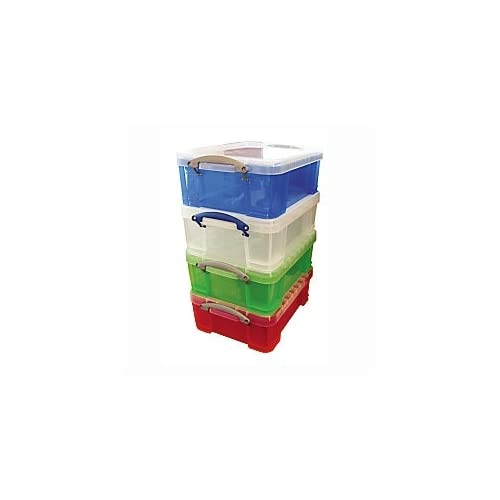 Really Useful Box(R) Plastic Storage Box, 17 Liter, 17 1/4in. x 14in. x 7in., Assorted Colors