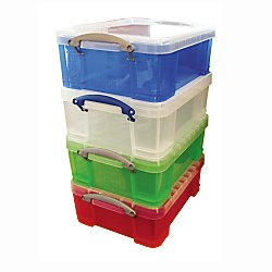 Really Useful Box(R) Plastic Storage Box, 17 Liter, 17 1/4in. x 14in. x 7in, Assorted Colors