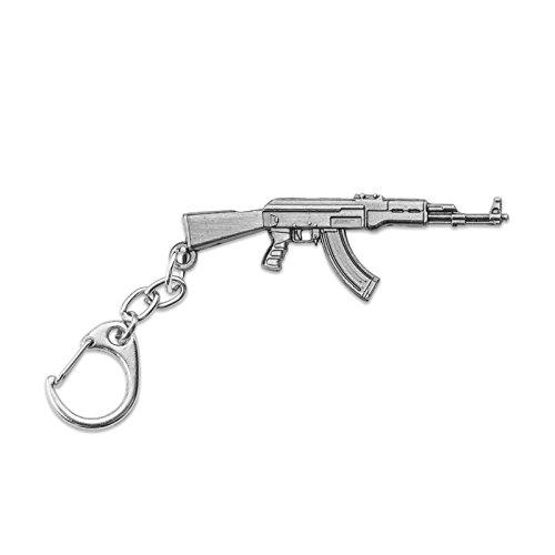 Apeixa Crossfire Pistol Antiqued Metal Keychain 2.4 Wide Apexia