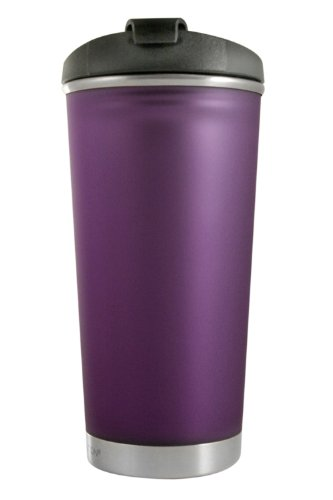 (Liquid Solution Frosty Tumbler with Threaded Lid (Plum, 14-Ounce))