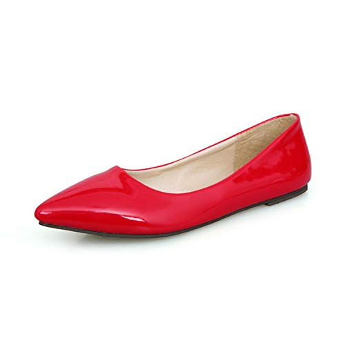 Bella Marie Angie 51-s Patent Vegan Leather Pointed Toe Ballet Flats (8, Red Patent -