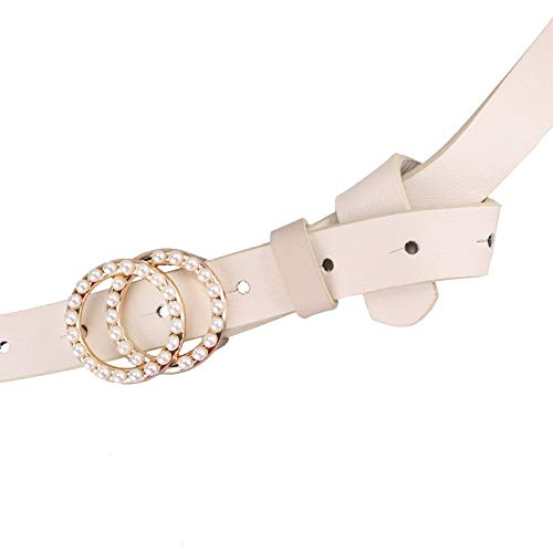 Womens Belt Leather Solid Color Buckle Waistband for Ladies