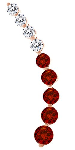 ing Curved Bar Simulated Red Garnet One Piece Left Ear Crawler Earrings In Rose Gold Over Sterling Silver ()