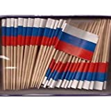Russia Toothpick Flag Cupcake Toppers %2