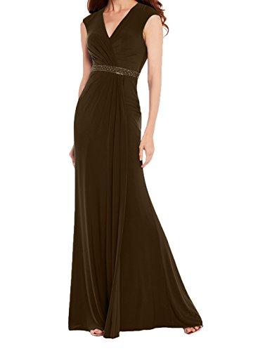 Abschlussballkleider Abendkleider Damen Chiffon Lang Etuikleider Royal Festlichkleider Blau Charmant Promkleider Braun X0qOw1FOP