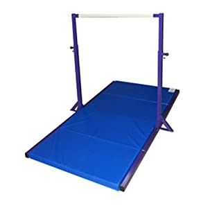 The Beam Store Gymnastics Purple Mini High Bar with Blue 4 Inch Thick Mat Made in USA