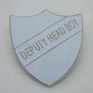 Deputy Head Boy Enamel School Shield Badge - White - Pack of 5 by Lapal Dimension