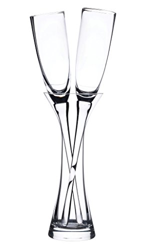 Lillian Rose Fashionable Long Stemmed Wedding Toasting Glasses with Vase, - Glass Goblet 8.5