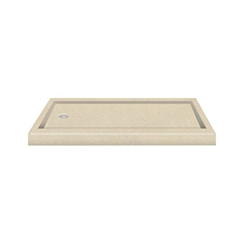 """good Transolid PAN3260L-A2 60"""" x 32"""" Decor Solid Surface Left-Hand Shower Base, Seaside"""