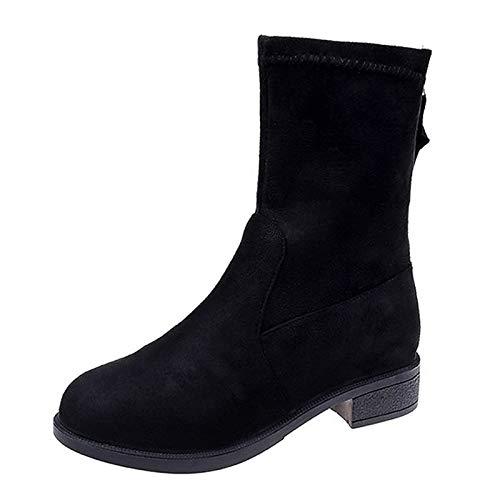 ZHZNVX Damenmode Stiefel PU Herbst Minimalismus Stiefel Chunky Heel Round Toe Mid-Calf Stiefel Schwarz