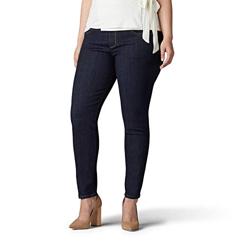 LEE Women's Plus Size Sculpting Slim Fit Skinny Leg Pull on Jean, Slumber, 22W Long