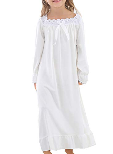 PUFSUNJJ Lovely Girls Princess Nightgown Soft Cotton Sleepwear Kids 3-12 Years ()
