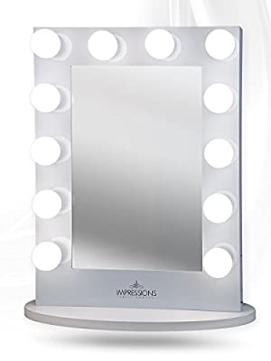 Impressions Vanity Hollywood Iconic Xl Vanity Mirror with Dimmer & Frosted Bulbs, White