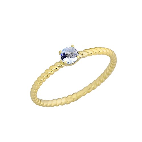 (Dainty 10k Yellow Gold Stackable Aquamarine Solitaire Rope Engagement/Promise Ring (Size 7))