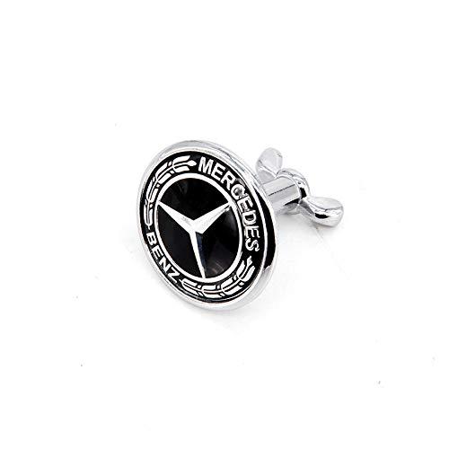 Guzetop 45mm Bolt On Hood Emblem For Mercedes-Benz Badge Metal (Black)