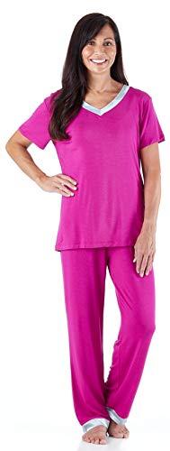 (Pajama Heaven Women's Sleepwear Bamboo Jersey V-Neck Top and Pants Pajama Set with Satin Trim, Magenta (PHBJ1941-2056-LRG))