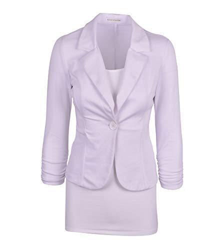 Auliné Collection Women's Casual Work Solid Color Knit Blazer White Large - Knit Denim Stretch Dress