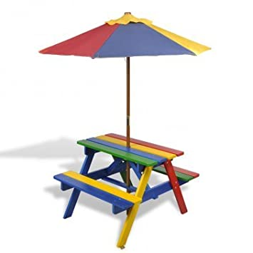 2 In 1 Kids Picnic Table Benches Rainbow Colour With Parasol