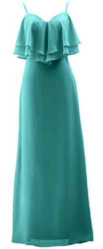 Wedding Party Gown Spaghetti Chiffon Dress Bridesmaid Formal MACloth Turquoise Straps Long ZRUqxHp