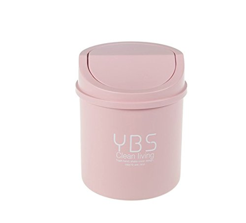 Animal Pet Cat Litter Waste Trash Recycle Bin Round Office Kitchen Desk Mini Trash Can Small Plastic Garbage Can Food Waste Bin Storage Recycle Box Bag Holder Gathering Disposal Container (Pink)