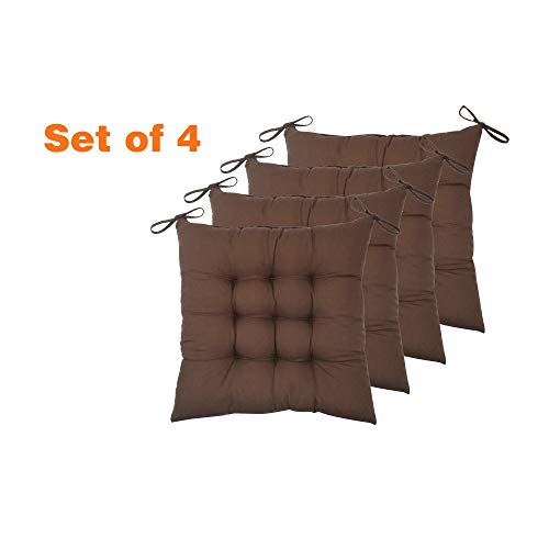 ELFJOY Set of 4 Solid Square 16″ x 16″ Tufted Chair Pads Indoor Seat Cushions Pillows with Ties (Coffee)