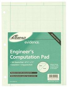 Ampad Engineers Computation Pad Green 8.5x11 100 Sht 22-142 Pack Of 25