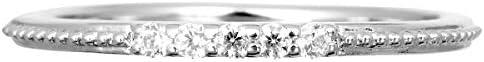ダイヤモンド リング プラチナ Pt900 指輪 6号 ミル打ち ピンキーリング 天然 ダイヤ 日本製