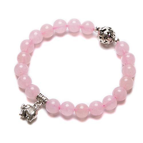 Bivei Gemstone Bead Bracelet for Women Healing Crystal Stone Yoga Chakra Meditation Elephant Good Luck Charm Bracelet (Rose Quartz) ()