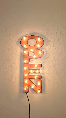 OPEN marquee lighted sign vertical vintage inspired