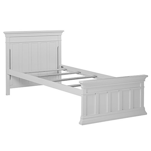 Double Dentil Molding - Evolur Napoli Twin Bed and Rail, Distressed White