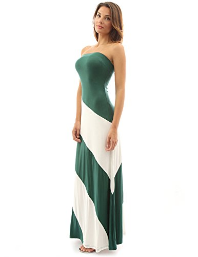 PattyBoutik DR-1083-DBLWH-XL - Vestido para mujer Green and Ivory White