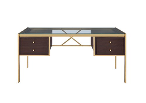 Acme Furniture 92785 Yumia Gold Desk with Glass Top