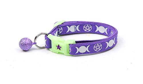 Pugs2Persians Witch's Familiar on Purple Cat Collar - Safety - Breakaway - Charm and Bell - Wicca - Witch - Occult - Pentagram