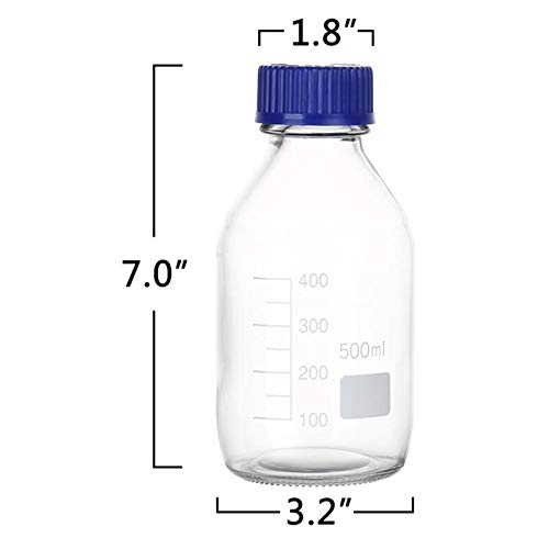 Cadamada 500ML Thick Glass Round Media Storage Bottles with Blue GL45 Screw Cap Pk/3 Thick Graduated Borosilicate Pyrex Glass Container by Cadamada (Image #1)