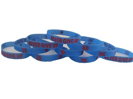 WWE - Glow in The Dark - John Cena Never GIVE UP Bracelets Kids Party Favors (10 Pack) -